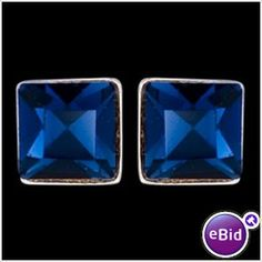 STERLING SILVER SQUARE EARRINGS WITH BLUE GLASS CRYSTAL STONE