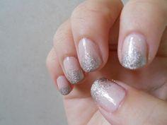 Bridal nails nude, glitter tipped nails Ombre Nail Polish, Metallic Nail Polish, Nude Nails With Glitter, Silver Glitter, Real Diamond Earrings, Nail Tips, Nail Ideas, Bridal Nails, Spring Nails