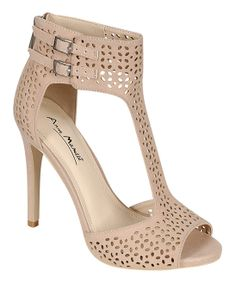 Nude Laser Cutout Perton Peep-Toe Pumps (by Bamboo)