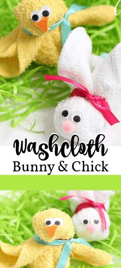 Washcloth Bunny and Chick: an adorable craft for a baby shower or Easter . Washcloth Bunny and Chick: an adorable craft for a baby shower or Easter recipes ideas recipes ideas families recipe Basket Crafts, Bunny Crafts, Craft Stick Crafts, Crafts To Do, Diy Crafts, Simple Crafts, Craft Ideas, Recycled Crafts, Easter Crafts For Seniors