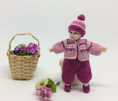 Miniature clothes, 1:12 Heidi Ott toddler pink outfit, dollhouse doll clothes