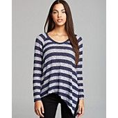 Aqua Sweater - Asymmetric Stripe