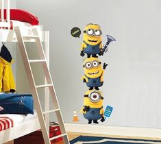 Bring the cheeky #Minions from #Despicable Me 2 into any room with these giant #wall #decals. These removable and repositionable #stickers are easy to apply and can be placed on any smooth surface, from walls to doors. - http://thegadgetflow.com/portfolio/minions-wall-decal/
