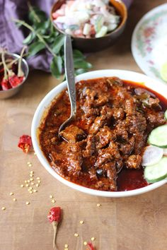 Vindaloo sounds like a very Indian word, especially since aloo means potato. But Vindaloo is a derived from the Portuguese dish carne de vinha d'alhos (meat marinated in wine-vinegar and garl… Goan Recipes, Lamb Recipes, Spicy Recipes, Curry Recipes, Indian Food Recipes, Chicken Recipes, Cooking Recipes, Curry Dishes, Beef Dishes