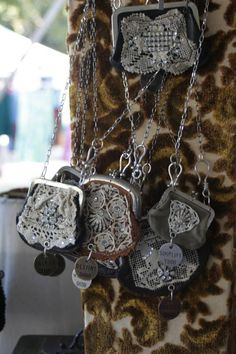Vintage coin purse necklaces from Melody Elizabeth Recycled Jewelry, Old Jewelry, Jewelry Crafts, Jewelry Art, Antique Jewelry, Jewelery, Vintage Jewelry, Handmade Jewelry, Jewelry Design