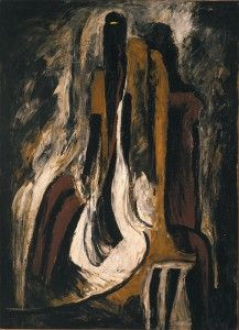 Clyfford Still 1937-8-A overall: 49 1/2 x  36 1/4 x 2 3/4 inches. Albright-Knox Art Gallery