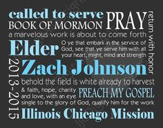 Custom Personalized LDS Missionary Gift Poster Printable Digital Subway Art 11x14. $8.00, via Etsy.