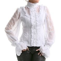 Gothic Shirts and Steampunk Blouses Victorian Shirt, Gothic Shirts, Lace Tops, Shirt Blouses, Blouses For Women, Ideias Fashion, Casual Outfits, Fashion Dresses, Fashion Looks