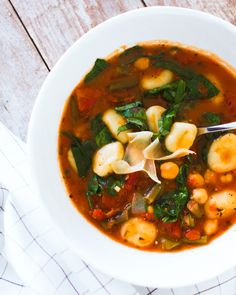 This vegetarian and vegan Italian vegetable and gnocchi soup is bursting with flavor and can be made in around 30 minutes, making it an easy weeknight meal.