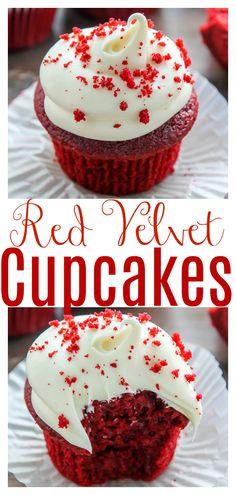 Easy Red Velvet Cupcakes, Best Red Velvet Cupcake Recipe, Red Cupcakes, Mocha Cupcakes, Banana Cupcakes, Strawberry Cupcakes, Easter Cupcakes, Flower Cupcakes, Vanilla Cupcakes