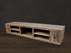 Reciclado madera Media consola / soporte de la TV por AtlasWoodCo