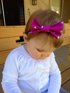 Purple with silver polka dots bow headband. Available at www.etsy.com/shop/thelittlebowco