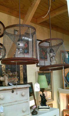 Hanging Lamp Minnow Basket Pendant Lighting Rustic Cabin Decor