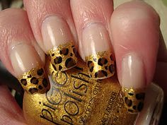 Cheetah Leopard Print Nail Art French Tip Manicure! Follow this blog at paintthatnail.com!