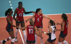 Image detail for -Foluke Akinradewo, Destinee Hooker, Jordan Larson, captain Lindsey Berg, Nicole Davis and Logan Tom (L-R) of the U.S. celebrate a point during their women's Group B volleyball match at the London 2012