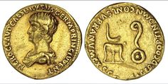 Nero, Caesar, 50-54 A.D. Aureus, 51-54 A.D. under Claudius. Rome and Lugdunum. Bare-headed and draped bust l. of young Nero, NERO CLAVD. CAES. DRVSVS GERM. PRINC. IVVENT. Rv. Simpulum on tripod and lituus on patera, SACERD. COOPT. IN OMN. CONL. SVPRA NVM. EX S.C. 7.69 grams. Cal.441, RIC 76. Light scratches in the fields both sides, edge marks and slight polishing consistent with removal from jewelry mount. Strong Very Fine in point of wear. (1,000-1,500)