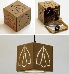 Luminárias feitas com caixas de papelão                                                                                                                                                                                 Mais