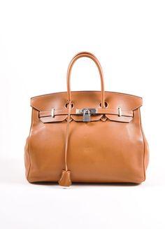"Tan Brown Silver Tone Togo Leather 35 cm ""Birkin"" Bag"