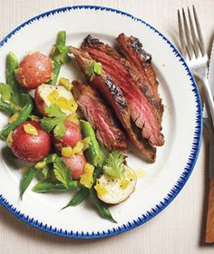 Pineapple-Marinated Steak With Spicy Potatoes and Green Beans recipe summer meal, summer recip, flank steak, makeahead meal, spici potato, green beans, dinner recipes, pineapplemarin steak, green bean recipes