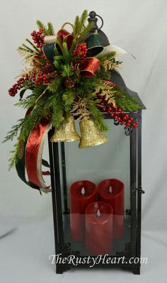 Large Christmas Lantern Swag with Bells by TheRustyHeart on Etsy Country Christmas Decorations, Christmas Lanterns, Christmas Fireplace, Christmas Swags, Holiday Centerpieces, Christmas Ribbon, Xmas Decorations, Christmas Crafts, Holiday Decor