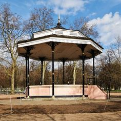This bandstand in Hyde Park, located near the Serpentine Road, is one of the oldest bandstands in Britain. Hyde Park, Britain, Gazebo, Old Things, Outdoor Structures, London, Big Ben London, Deck Gazebo, Cabana