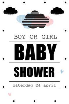lovz.nl | babyshower uitnodigingskaart | wolk zwart wit | zelf maken