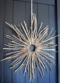 Idea for christmas wreath to make with the girls: 1. find branches 2. hot glue to a card board circle 3. spray paint white or ice blue 4. add snow/icicles for winter frost
