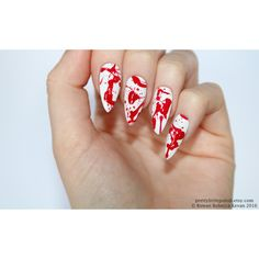Blood splatter stiletto nails, Halloween nails, Fake nail, Stiletto... ($20) ❤ liked on Polyvore featuring beauty products, nail care, nail treatments and peel mask