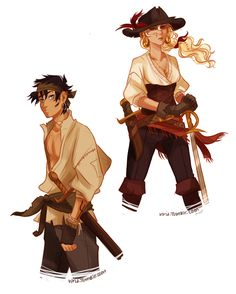 In which Percy is a pirate. by *viria13 on deviantART with Annabeth, Percy Jackson and the Olympians fanart.