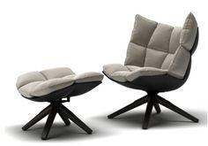 "Husk Swivel Armchair + Ottoman - B&B Italia     $$$$$   Dimensions: 36""w x 34""d x 40""h Ottoman: 26.5""w x 22""d x 16""h  Upholstered in Bario #2082101 beige color fabric.  Fabric content: 63% CO 37% LI  Base finished in grey oak with a black plastic shell"