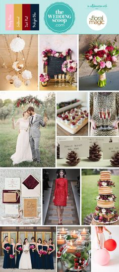Christmas wedding moodboard! Berry and Tinsel Inspiration Board