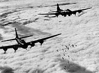 B-17s in formation over Germany-Some B-17s received radar enabling them to bomb when visibility was low, a condition which rendered the the Norden bombsight useless.  In service throughout World War II, the B-17 served mainly in Europe, but also saw some service in the Mediterranean and Pacific. The day after Pearl Harbor, an early version B-17 named The Swoose, was a survivor of the initial Japanese attack on Clark Field, in the Philippines outside Manila (December 8, 1941) and is…