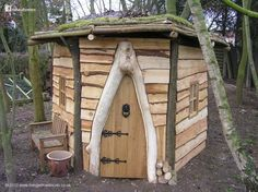 This playhouse was built for a school in Lincoln, England by Jason Hadley [www.livingwillowlincoln.co.uk]. The windows and door are hand made from oak, the cladding is Scots Pine local milled. The timber for the rest of the tiny little house was grown and cut locally including the willow for the reciprocal roof [www.facebook.com/photo.php?fbid=315565608481165].