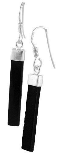 Sleek Black Onyx Tab & Sterling Earrings at The Animal Rescue Site $9.95