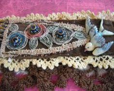 Victorian tattered textile cuff steampunk cuff salvaged by quisnam