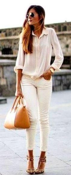 summer outfits White Shirt + White Skinny Jeans + Camel Leather Tote Bag