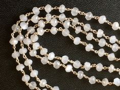 WHOLESALE 5 FEET White Moonstone Faceted Rondelle by gemsforjewels