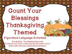 thedabblingspeechie - Count Your Blessings Thanksgiving Themed Idioms Pack