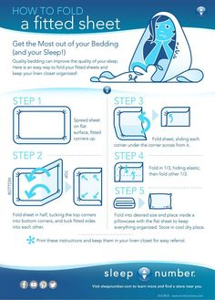 Quality bedding can help improve the quality of your sleep. But folding a fitted sheet can be a pain. We realize that, so we're here to help. Here are 5 easy tips to help you become an expert at folding fitted sheets. #infographic #bedding #sleepnumber