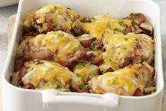 This chicken and potato casserole is comfort food at its best.  Made with bacon, potatoes, onions and marinated chicken, our oven-baked Chicken & Roasted Red Potatoes is sure to become a classic family recipe.