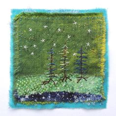Jude Hill, Rooted in starlight. Sashiko Embroidery, Vintage Embroidery, Embroidery Patterns, Fabric Art, Fabric Crafts, Boro Stitching, Fabric Brooch, Fabric Postcards, Fabric Pictures