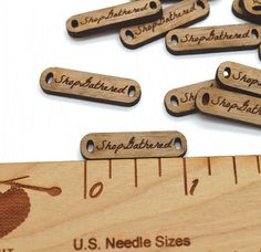 50 Product Tags - Customized with your text - 0.3 x 1 Inch - laser cut and engraved