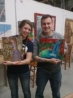 He wanted something fun and creative to do for their first date… So they came to a Rustic Mtn Art Paint pARTy!