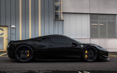 クールな車、フェラーリ、フェラーリ458、ブラック車、