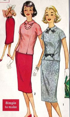 1950s Junior Misses Overblouse and Skirt by MissBettysAttic, $10.00