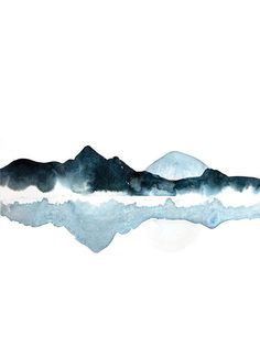 Blue Abstract Landscape Watercolour Lake Painting Mountain