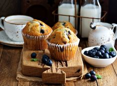 Freshly baked blueberry muffins in a rustic setting with milk and coffee on the table , Vancouver, Breakfast Muffins, Blue Berry Muffins, Freshly Baked, Puzzle Pieces, Food Pictures, Blueberry, Jigsaw Puzzles, Display Ideas