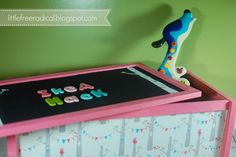 DIY: IKEA APA Toybox Hack - fabric sides with a magnetic chalkboard lid!