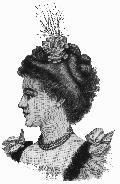 Hair should be worn up, in a bun often fairly high on the head or pulled softly to the back of the head. Hair is usually wavy and the volume of the hairstyle increases throughout the decade. In the early 1890s, it is fairly close to the head. By late in the decade, it is approaching the Gibson Girl puff. fWas usually dressed with small ornaments, ribbon bows and feathers; there was usually a strong vertical emphasis in the headdress.