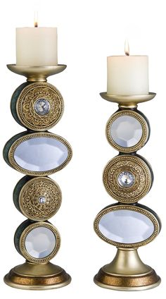 Features:  -Elegant jewelry design.  -Bronze/pearl finish.  -Bevel glass and gem accents.  -Material: Polyresin.  -High quality and stylish.  -Candle included.  Distressed: -Yes.  Style (Old): -Tradit